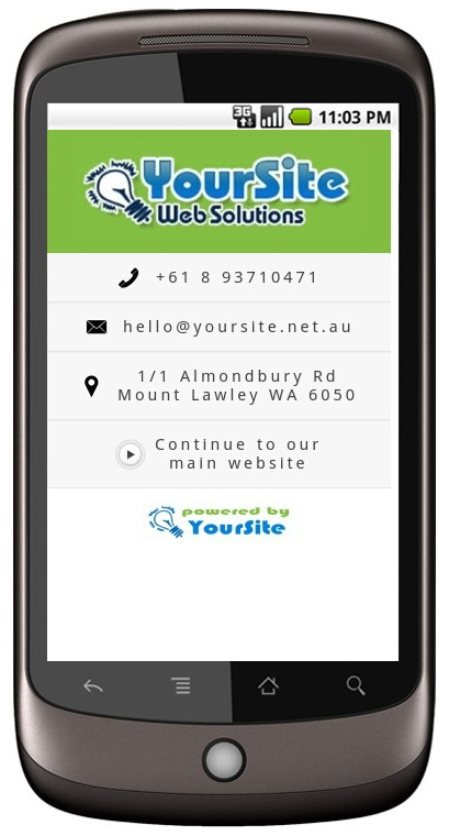 YourSite Mobile Landing Page